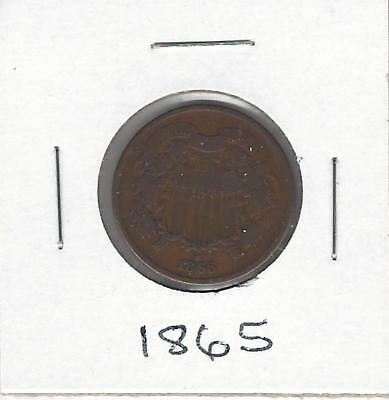 1865 U.s. Two-Cent Piece - Good Details - 95% Copper Coin - 153 Years Old!!