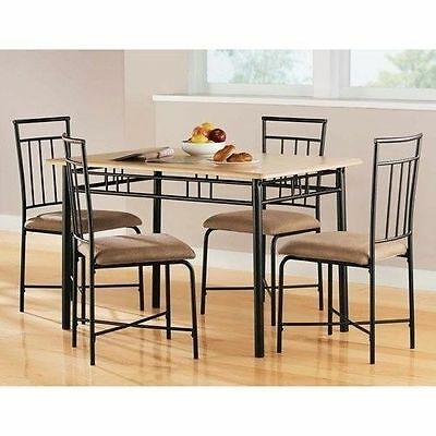 2 Of 6 5 Piece Wood Metal Modern Dining Table Set Chairs Dinner Kitchen  Dinette Room