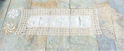 Vintage Greek Mykonos Handmade Cotton Crochet Table Runner With 4 Doilies Rare