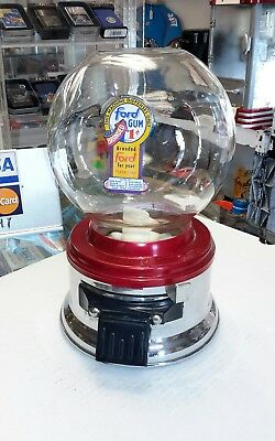 1 Cent  Ford  Gumball Machine Glass Globe  Working Painted And Cleaned Up