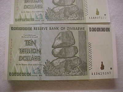 Zimbabwe 10 Trillion Banknotes (10 X 10 Trillion) in a lot/bundle/pack