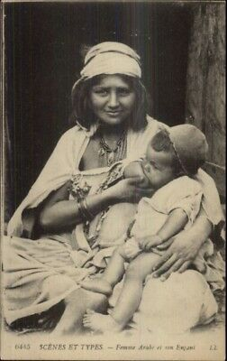 Ethnography -= Arab Woman Mother Breastfeeding c1915 Postcard