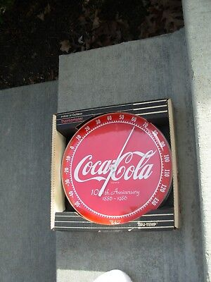 Vintage Coca-Cola /Coke Anniversary Jumbo Dial Advertising Thermometer In Box