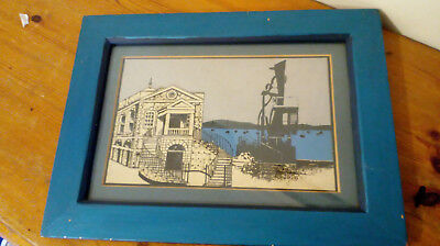 Poole Quay Custom House & Statue - Mixed media 27.5 x 36cm Framed