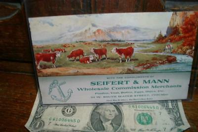 1911 Gerlach barklow co. joliet illinois SEIFERT & MANN INK BLOTTER Cattle more