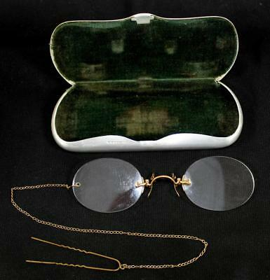 Antique Gold Filled Clip On Nose Optical Glasses Spectacles, Chain & Metal Case