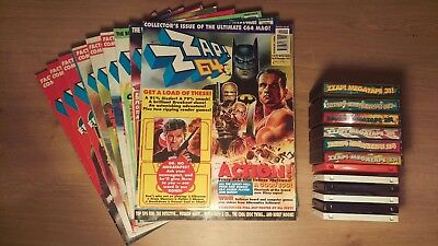 9 x 1992 Commodore 64 ZZAP! Magazine Issues 82-90 with all Megatapes 26-37