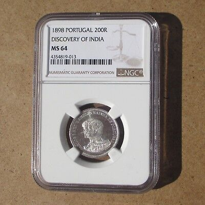 Portugal 1898 Silver 200 Reis Commemorative Coin KM#537 NGC MS-64