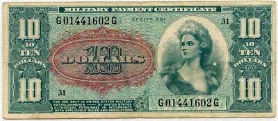 Ten Dollar Military Payment Certificate Obsolete Note