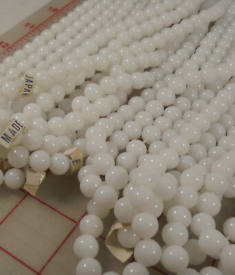 12 strands 2.5 lb vintage 9mm milk white glass smooth round beads Japan Japanese