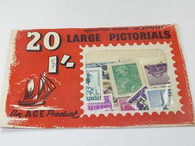 VINTAGE ACE 25 x WORLD WIDE LARGE PICTORIALS STAMPS 1971 SEALED (Red Envelope)