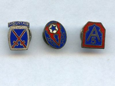 WWII US ARMY DI LAPEL PIN LOT (3) STERLING 10th MOUNTAIN DIVISION, 5th ARMY, ETO