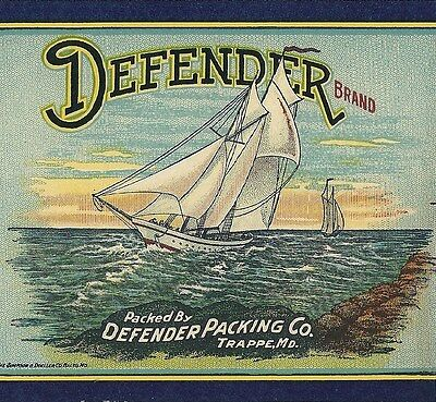 Original Defender Brand Tomatoes Can Label Defender Packing Co. Trappe, Maryland