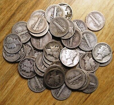 Mercury Dimes Roll Of 50 Mostly 30's A Few 20's A Couple 40's
