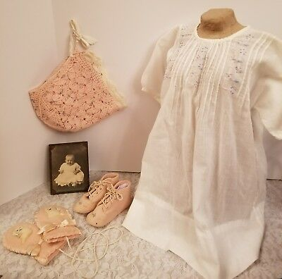 Victorian Baby Lot Embroidered Cotton Dress Knit Cap Kitty Mittens! Shoes Photo