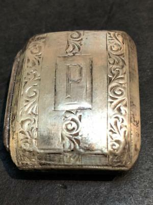 """Antique Sterling Silver Initial """"P"""" Belt Buckle"""