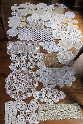 Lot 42 ~ Vintage Antique Crocheted Lace Doilies 1900 to 1940's ~ Nice Condition