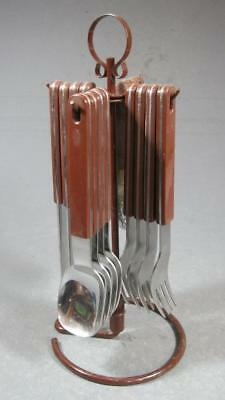 Retro/vintage 60s-70s brown plastic handled cutlery set 16 pc +caddy kartell-era