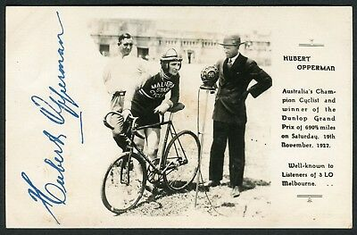 Vintage 3LO Melbourne Postcard - Hubert Opperman, Champion Cyclist ***Signed***