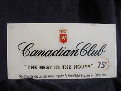 1950's Canadian Club 10 X 5 Reverse on Glass ROG NOS New Old Stock