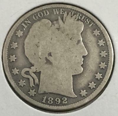 1892 US Barber SILVER Half Dollar! First Year Issue! Old US Coins!