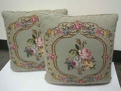 Vintage Pair of Beautiful Wool Needlepoint Pillows with Floral Design Satin Back