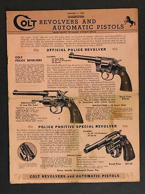 1940 COLT REVOLVERS and AUTOMATIC PISTOLS CATALOG~12 Pages.