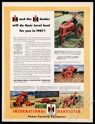 1947 Farmall tractor McCormick Deering Combine International Harvester print ad