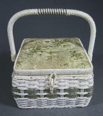 Shabby vintage/retro wicker/rattan sewing basket tapestry lid chic