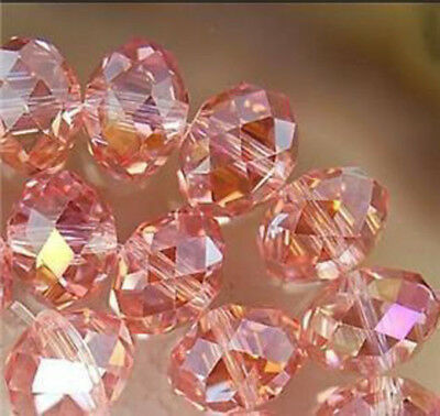100 (±3) PCS , 4 X 6 mm Pink Crystal Faceted Gemstone Abacus Loose Beads