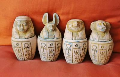 "Antique Collection Set 4 Egyptian Ancient Canopic Jars Organs Storage..4"" Inches"