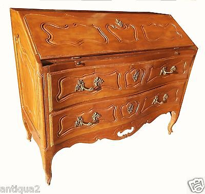 18C Period French Rococo Louis Xv Carved Solid Cherry Scalloped Secretary Desk