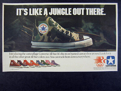 1984 Converse CAMOUFLAGE All-Star Chuck Taylor Shoes vintage print Ad