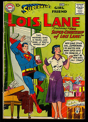 Superman's Girl Friend Lois Lane #4 Nice Early Silver Age DC Comic 1958 GD-VG