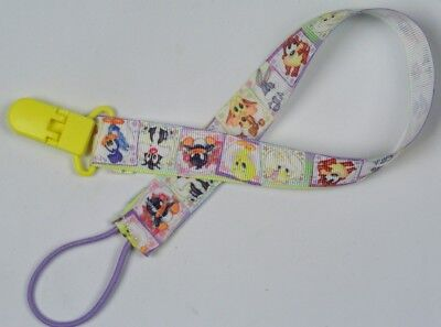 Extra long pacifier clip LooneyToons