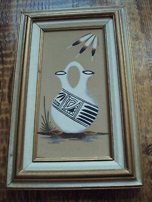 Vintage Authentic Native American Sand Art Picture Framed Painting Signed Navajo