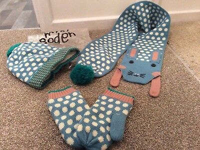 Mini Boden Girls Hat  Cat Scarf & Mittens Set  Knit Age 11-12 . BNWOT