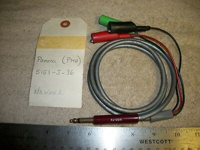 Vintage Pamona (Pma) 5151-J-36 Test Cable Old Phone Plug To R-B-G Clips A