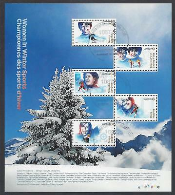 2018 Women in Winter Sports Pane of 5 stamps First Day Cancel