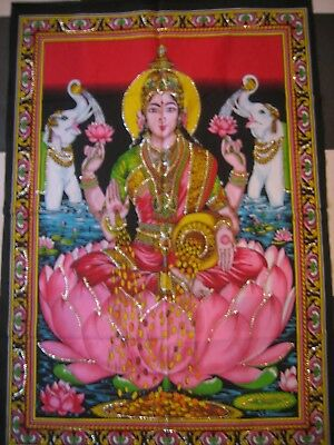 Large Cloth Sequined Wall Hanging Of Lakshmi