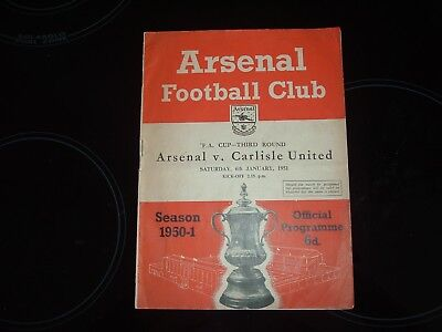Arsenal V Carlisle United - Fa Cup 3Rd Round - 1950/51 Season