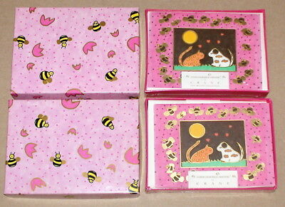 "2 Pkgs - Crane / Annee Goodchild ""Love - Cat & Dog"" Bumble Bees Note Cards & Box"
