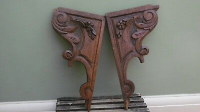 SUPERB Pr 19thc SMALL ARCHITECTURAL OAK CARVED BRACKETS C.1870's