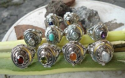 20 X 925 Sterling Silver-LR119-Bali Poison/Wish Locket Ring Oval & Mix Stone