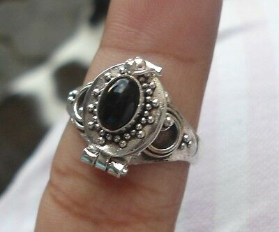 10 X925 Sterling Silver Balinese Poison Wish Locket Ring & Black Onyx MIXED SIZE