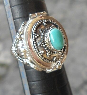10 X 925  Silver-LR119-Bali Poison/Wish Locket Ring Oval & Turquoise MIXED SIZE