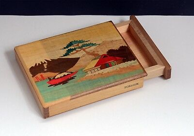 Superb Vintage Inlaid Wooden Japanese 'Trick' / 'Magic' Box. With Fuji Design