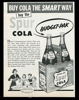 1953 Spur Cola 2 bottle Budget Pak pack photo Canada Dry vintage print ad