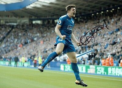 Harry MAGUIRE Signed Autograph 16x12 Photo 6 AFTAL COA Leicester City England