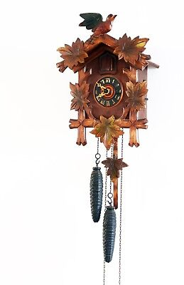 Lovely Vintage Wooden Cuckoo Clock - Spares / Repair. Complete with Weights etc